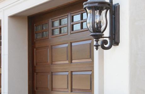closeup of handcrafted wood doors photo